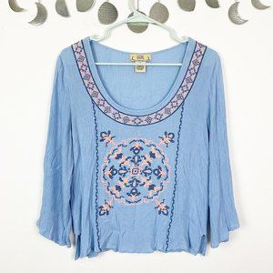 Flying Tomato Blue Embroidered Scoop Neck Top